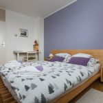 Bedroom with double bed 160x220 cm and desk